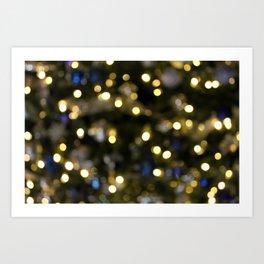White Blue and Green Christmas Bokeh 2 Art Print