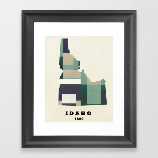 idaho state map modern  Framed Art Print