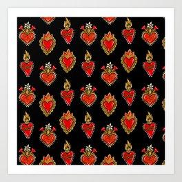 Sacred hearts pattern Art Print