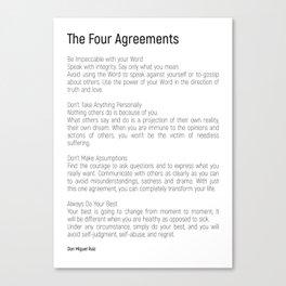 The Four Agreements #blackwhite #minimalism Canvas Print