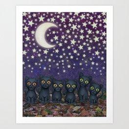 black cats, stars, & moon Art Print