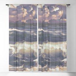 stormy sea waves reacls Sheer Curtain