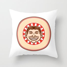 Grinning Funny Face Mascot Circle Retro Throw Pillow