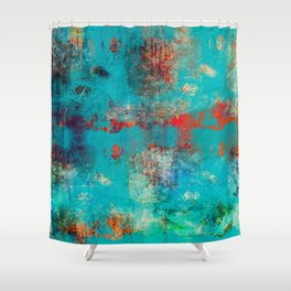 Aztec Turquoise Stone Abstract Texture Design Art Shower Curtain