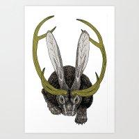 jackalope Art Prints featuring Jackalope by Justin McElroy