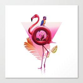 Flamingo Rider Canvas Print
