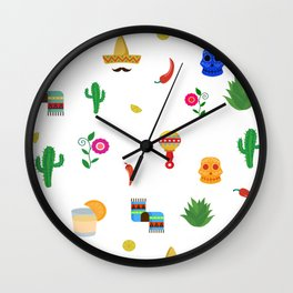 Mexican,colourful pattern art Wall Clock