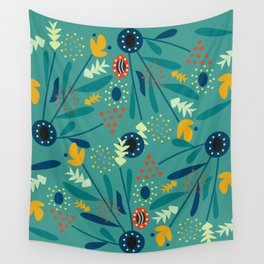 Floral dance in blue Wall Tapestry