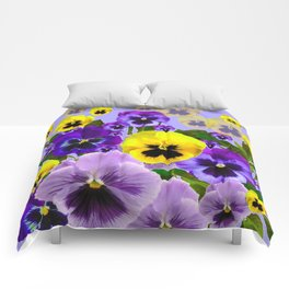 SPRING PURPLE & YELLOW PANSY FLOWERS Comforters