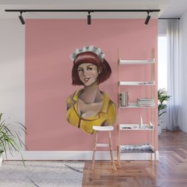 Waitress Portrait - Pink Background Wall Mural