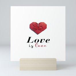 Paper Origami Heart - Love is Love Mini Art Print