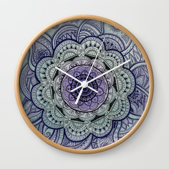 Mandala Purple Wall Clock by Sandy Broenimann
