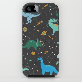 Dinosaurs in Space in Blue iPhone Case