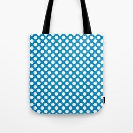 White and blue polka dots Tote Bag