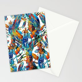 Colorful Lobster Collage Art - Sharon Cummings Stationery Cards