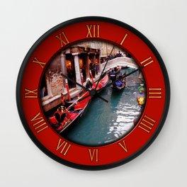 Gondolas On A Small Venetian Canal Wall Clock