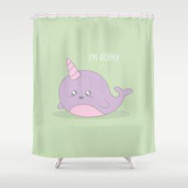 I'm Horny #kawaii #Narwhol Shower Curtain