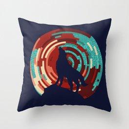Howling wolf  DJ wall art print Throw Pillow