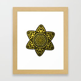 Faux Golden Mandala Star Framed Art Print