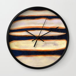 Green Cloud over Floating Shapes Wall Clock