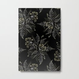 Ferns and Parrot Tulips - Black Metal Print