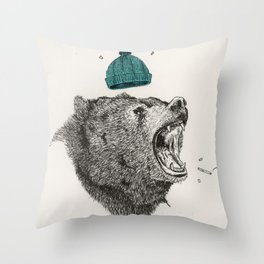 bear and cigaret  Throw Pillow