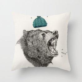 bear and cigaret  Throw Pillow