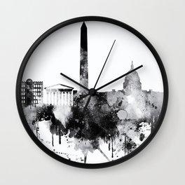 Black and white watercolor Washington skyline Wall Clock