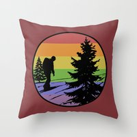 hiking Throw Pillows featuring Hiking by Paul Simms