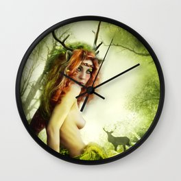 Deer Woman Wall Clock
