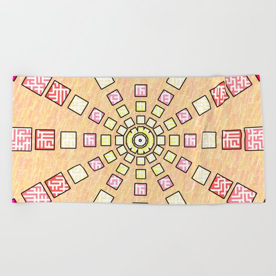 Ethnic wheel in pink Beach Towel