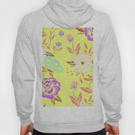 Yellow mini-art Flowers of different colors Colorful flowers  White violet green and blue Hoody