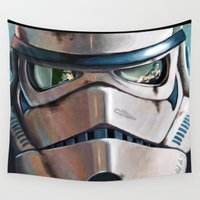 stormtrooper Wall Tapestries featuring Stormtrooper by Mel Hampson