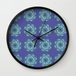 Purple & Blue Mandala Waves Wall Clock