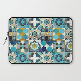 Spanish moroccan tiles inspiration // turquoise blue golden lines Laptop Sleeve