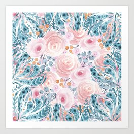 Blush pink blue coral watercolor hand painted floral Art Print