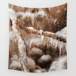 Frozen Harp Falls - Sepia Nostalgia Wall Tapestry