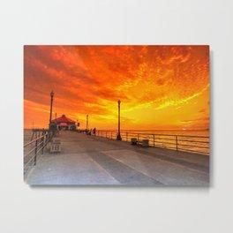 Summer Sunset On The Pier Huntington Beach Metal Print