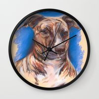 pit bull Wall Clocks featuring Brindle Pit Bull Portrait by M.M. Anderson Designs