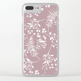 Modern mauve pink white hand painted floral Clear iPhone Case