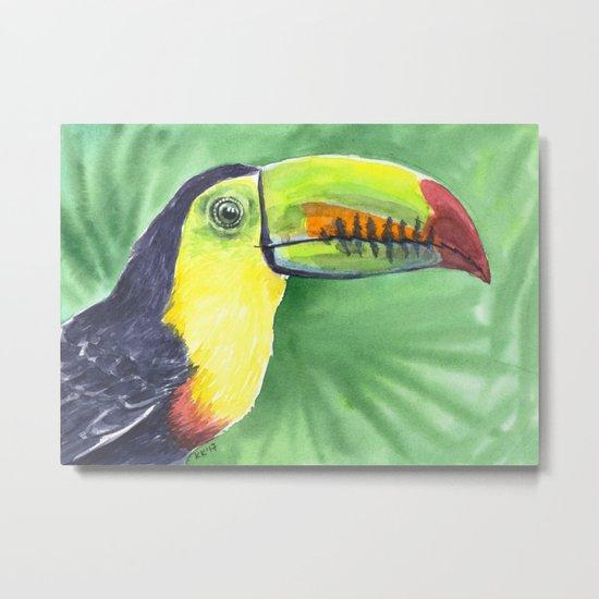 Toucan, tropical bird in watercolors Metal Print