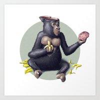 Gorilla thinks Art Print