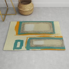 Soft And Bold Rothko Inspired - Corbin Henry Modern Art - Teal Blue Orange Beige Rug
