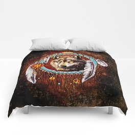 Indian Native Wolf Dreamcatcher iPhone 4 5 6 7, ipod, ipad, pillow case and tshirt Comforters