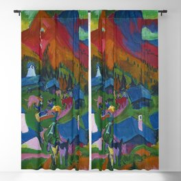 Return of the Animals Mountain Village Landscape painting by Ernst Ludwig Kirchner Blackout Curtain
