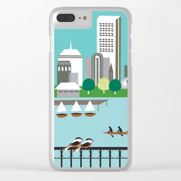 Boston, Massachusetts - Skyline Illustration by Loose Petals Clear iPhone Case