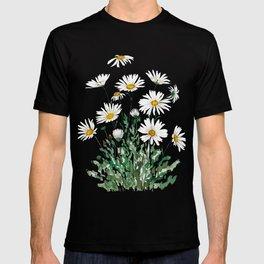 white Margaret daisy watercolor T-shirt