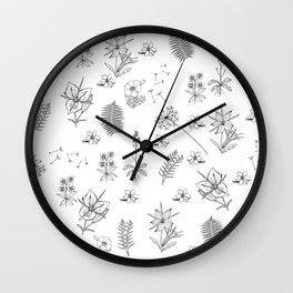 Black White Flower Mix Wall Clock