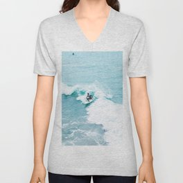 Wave Surfer Turquoise Unisex V-Neck