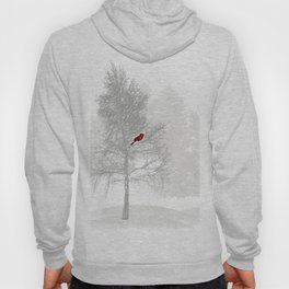 Red Cardinal in a Snowy White Forest Hoody